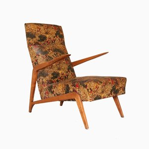 Mid-Century Wood and Printed Vinyl Lounge Chair