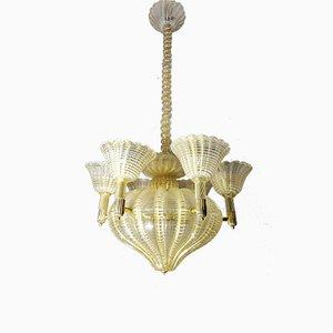 Lámpara de araña de Ercole Barovier para Barovier & Toso, años 40