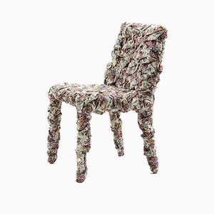 Vintage Flower Patterned Fabric Lounge Chair