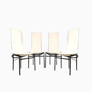 Leather Dining Chairs, 1980s, Set of 4