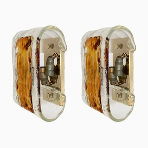 Mid-Century Gilded Metal and Murano Glass Sconces from La Murrina, Set of 2