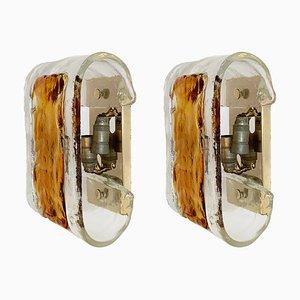Mid-Century Wandleuchten aus vergoldetem Metall & Murano Glas von La Murrina, 2er Set