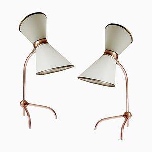 Lampes de Bureau Mid-Century en Cuivre, France, 1950s, Set de 2
