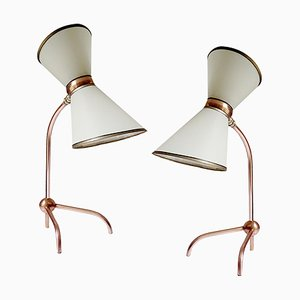 Mid-Century French Copper Table Lamps, 1950s, Set of 2