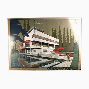 Progetto e disegno Bauhaus Villa da architetto di Marcel Seger, anni '30, set di 2