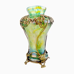 Art Nouveau Iridescent Glass and Bronze Vase from Kralik