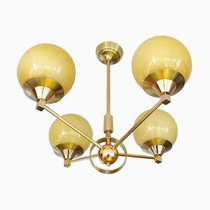 Mid-Century French Glass and Brass Sputnik Ceiling Lamp, 1960s