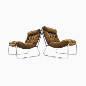 Mid-Century Lounge Stühle aus Chrom, 1960er, 2er Set