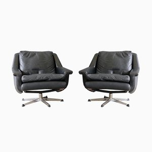 Danish Leather Swivel Lounge Chairs by Werner Langenfeld for ESA Møbler, 1960s, Set of 2