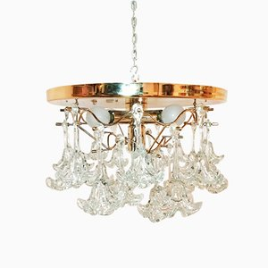 Vintage Crystal Flower Ceiling Lamps, Set of 2
