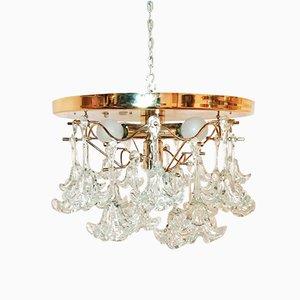 Vintage Deckenlampen aus Kristallglas in Blumen-Optik, 2er Set