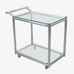 Vintage Steel & Crystal Serving Cart, 1960s