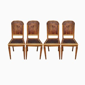 Art Deco Leather Dining Chairs, 1920s, Set of 4