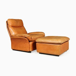 Leather Model DS49 Armchair and Footstool Set from de Sede, 1960s