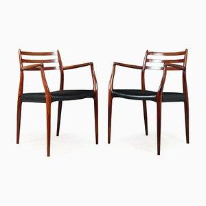 Modell 62 Esszimmerstühle aus Palisander & Leder von JL Møllers, 1960er, 2er Set