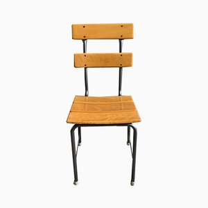 Scandinavian Industrial School Chairs, 1950s, Set of 4