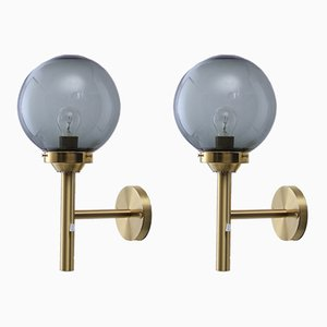 Scandinavian Modern Brass & Glass Wall Lights by Uno & Östen Kristiansson for Luxus, 1970s, Set of 2