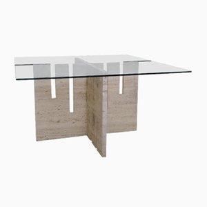 Glass & Travertine Dining Table by Saporiti, 1970s