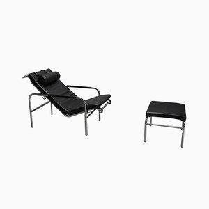 Chaise longue con poggiapiedi di Gabriele Mucchi per Zanotta, anni '80