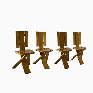 Mid-Century French Constructivist Chairs from A Attribuer, Set of 4