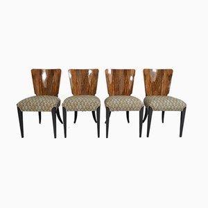 Esszimmerstühle im Art Deco Stil von Jindřich Halabala, 1940er, 4er Set