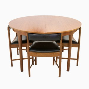 Ausziehbarer Mid-Century Teak Esstisch & Stühle Set von McIntosh, 1960er, 5er Set