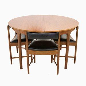 Juego de mesa de comedor extensible Mid-Century de teca y sillas de McIntosh, años 60. Juego de 5