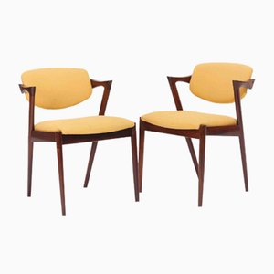 Chaises d'Appoint en Palissandre par Kai Kristiansen pour Schou Andersen, années 50, Set de 2