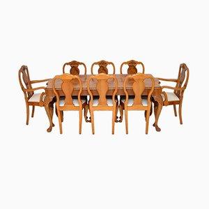 Juego de mesa y sillas de comedor estilo Reina Ana de nudo de nogal, años 30. Juego de 9