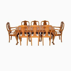 Queen Anne Style Burr Walnut Dining Table & Chairs Set, 1930s, Set of 9