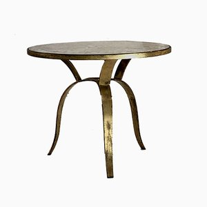 Art Deco Gilded Bronze Side Table by A Attribuer, 1930s