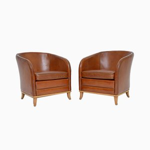 Swedish Leather Armchairs by Bröderna Andersson, 1950s, Set of 2