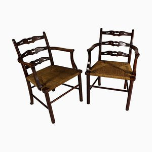Antique Oak & Woven Rush Armchairs, Set of 2, 1900s