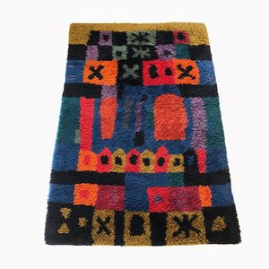 Large Vintage Scandinavian Rya Rug by Arne Lindaas for Sellgren AS