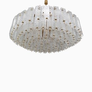Large Mid-Century Brass & Structured Glass Chandelier