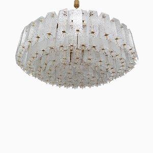 Large Mid-Century Brass & Structured Glass Chandelier