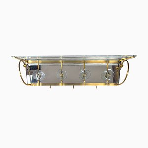 Vintage Brass and Crystal Wall Coat Rack, 1950s