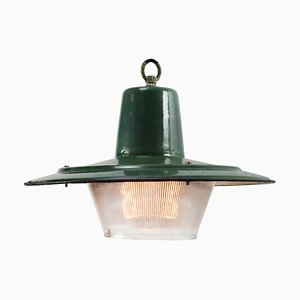 Mid-Century Industrial Enamel & Frosted Glass Pendant Lamp
