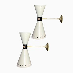 Brass Sconces from Stilnovo, 1957, Set of 2
