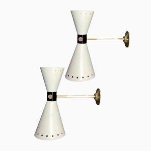 Messing Wandlampen von Stilnovo, 1957, 2er Set