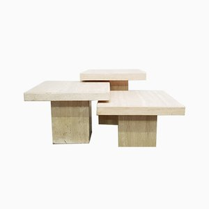 Travertine Coffee Tables, 1970s, Set of 3