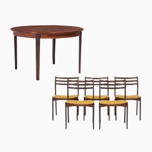 Palisander Esstisch & Stühle Set von Vestervig Eriksen, 1950er, 6er Set