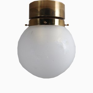 Brass & Frosted Glass Ceiling Lamp, 1960s