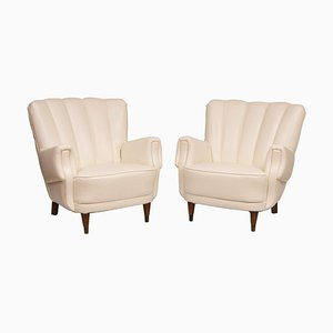 Art Deco Ivory Leather Armchairs, 1930s, Set of 2