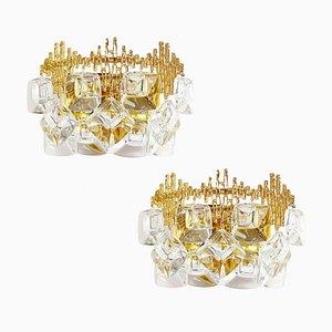 Brutalistische Vergoldete Mid-Century Messing und Kristallglas Wandlampen von Palwa, 1960er, 2er Set