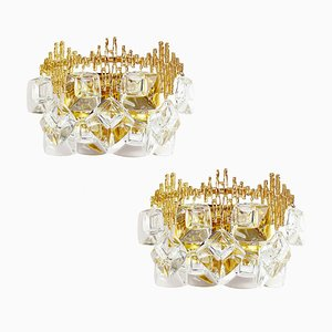 Mid-Century Brutalist Gold Plated Brass and Crystal Sconces by Palwa, 1960s, Set of 2
