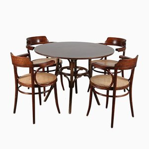 Bentwood 233 Dining Table & Chairs Set by Michael Thonet, 1970s, Set of 5
