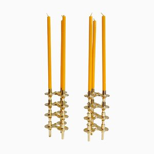 Mid-Century Gilded Brass Modular Candleholder by Ceasar Stoffi for BMF, 1970s