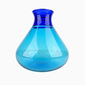 Turquoise Blue Murano Glass Colletto Vase by Ludovico Diaz de Santillana for Venini, 1990s