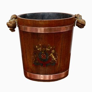 19th Century Naval Oak Fire Bucket With Royal Crest